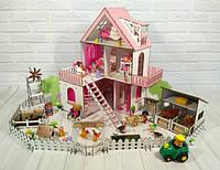 Фарбований ляльковий будиночок Сонячна Дача з Фермою, шпалерами, шторками, меблями і текстилем, фото 1