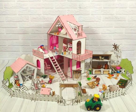Крашеный кукольный домик Солнечная Дача с Фермой, Двориком, обоями, шторками, мебелью и текстилем