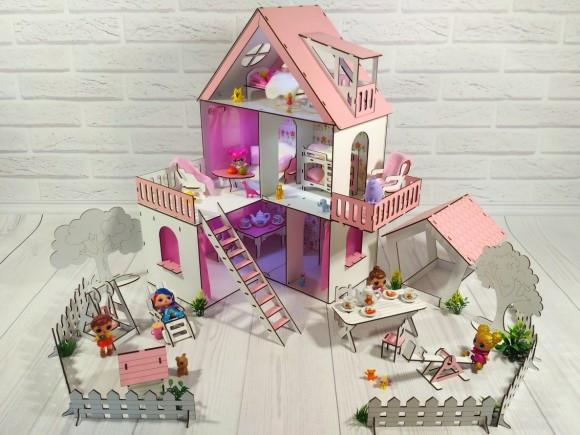 Фарбований ляльковий будиночок Сонячна Дача з Двориком, шпалерами, шторками, меблями і текстилем