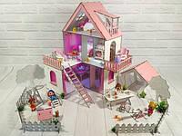Фарбований ляльковий будиночок Сонячна Дача з Двориком, шпалерами, шторками, меблями і текстилем, фото 1