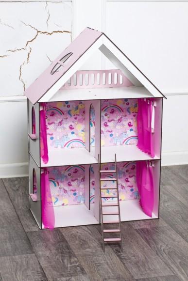Фарбований ляльковий будиночок для LOL LITTLE FUN maxi із шпалерами, шторками і сходами