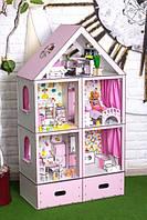 Фарбований ляльковий будиночок Великий Особняк Барбі LUX з меблями, шпалерами, текстилем і шторками, фото 1