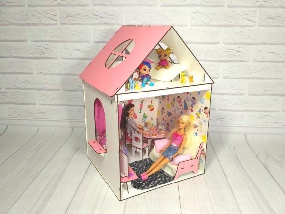 Двухэтажный крашеный кукольный домик для Барби с мебелью, обоями, шторками и текстилем