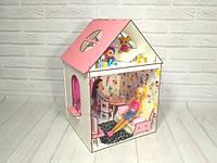 Двухэтажный крашеный кукольный домик для Барби с мебелью, обоями, шторками и текстилем, фото 1