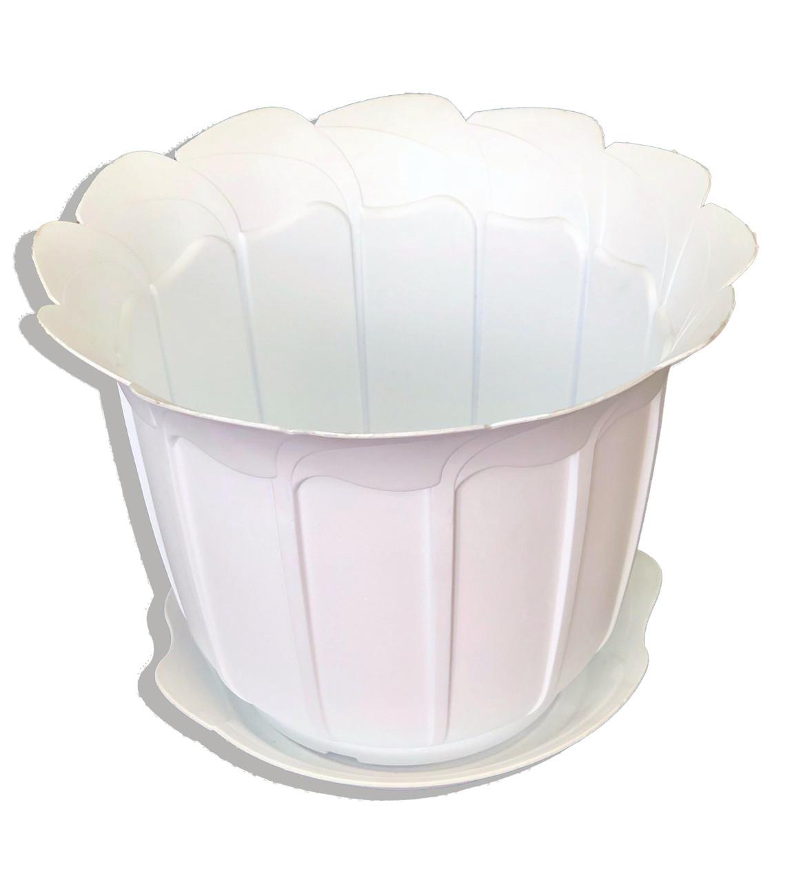 """Вазон пластиковий для квітів """"Лаура"""" з підставкою, 280мм (Білий)"""