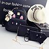 Набор рюкзак+сумочки 4в1 черного цвета с брелочком мишкой