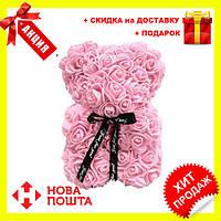 Красивый мишка из латексных 3D роз 40 см с лентой в подарочной коробке , Пудра, Новинка