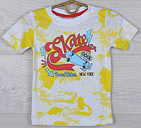 """Футболка детская """"Skate"""" для мальчиков 1-2-3-4 лет (86-104 см). Желтая с белым. Оптом"""