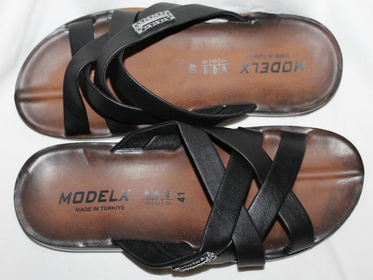 Шлепанцы мужские MODELEX кожаные черные 41 стелька 26 см