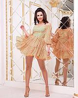 7f0905fffdc Короткое шифоновое платье в горошек открытые плечи мод. ВВ-786