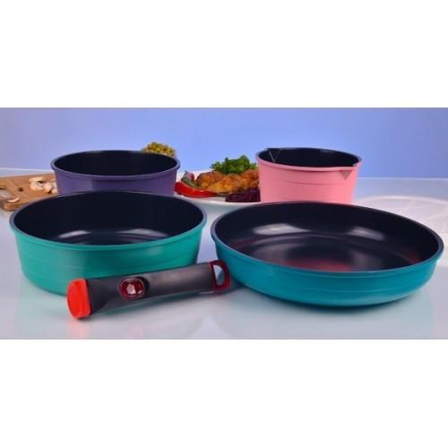 Набор посуды покрытие керамика 7 пр. Hilton FP 2452 - Mini-Cena - интернет магазин посуды и бытовой техники  в Луцке
