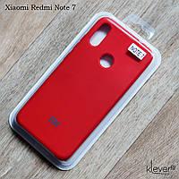 Оригинальный чехол жидкий силикон для Xiaomi Redmi Note 7 (красный, микрофибра внутри)