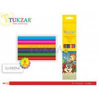 TZ 5855-6 Набор цветных деревянных карандашей 6цв Tukzar