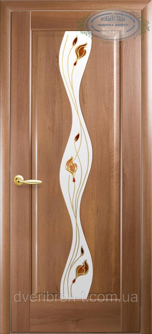 Двери Новый Стиль Волна + Р1 золотая ольха, коллекция Маэстра Р
