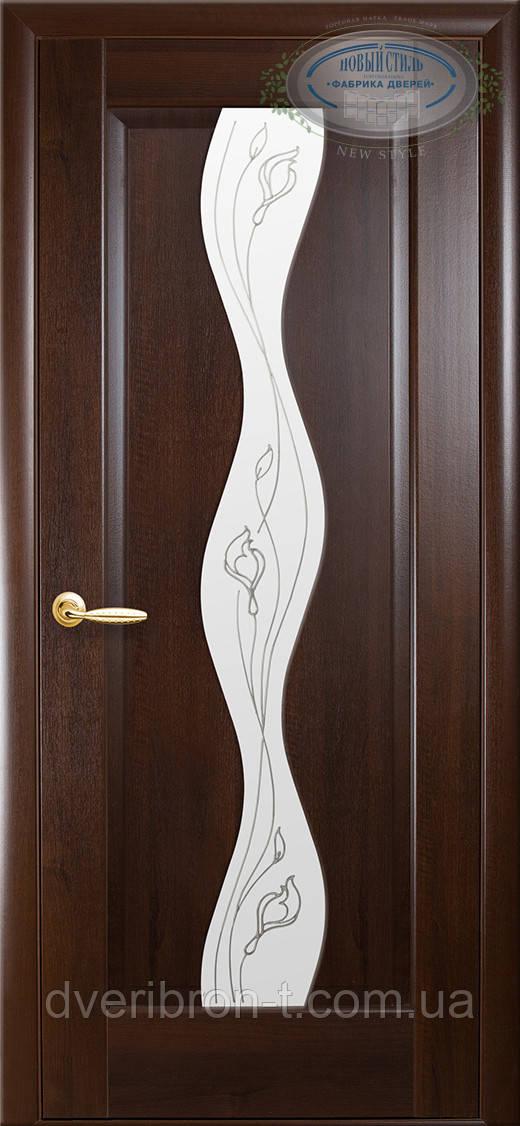 Двери Новый Стиль Волна + Р2 каштан, коллекция Маэстра Р