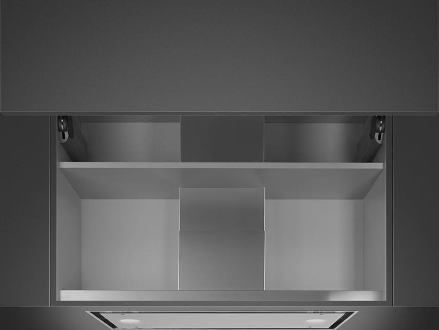 Встраиваемая вытяжка Smeg KSGT74B нержавеющая сталь, белое стекло