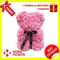 Красивый мишка из латексных 3D роз 25 см с лентой в подарочной коробке , Розовый, Новинка