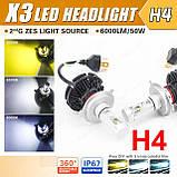 Комплект Автомобільних Ламп світлодіодні X3 Lead Headlight H4 50W IP67 3000K/6500K/8000K 2 шт головний світло, фото 2