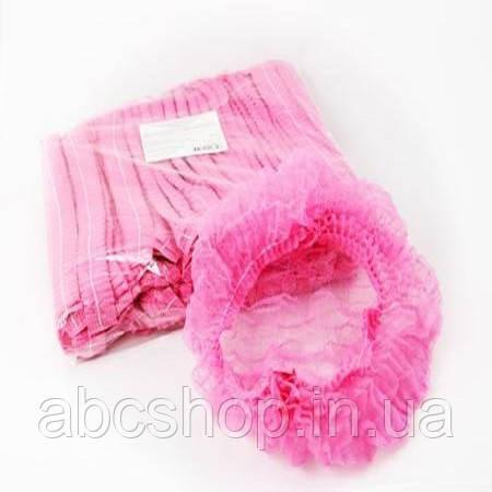 Шапочка одноразовая розовая (100 шт)