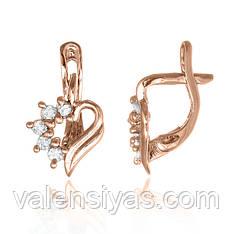 Серебряные позолоченные серьги Сердце С3Ф/014