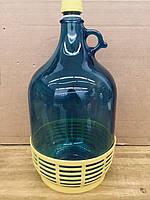 Бутыль с закруткой и пластиковой корзиной, синяя, 5 л, фото 1