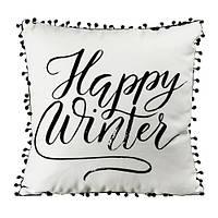 Подушка декоративная  с помпонами Happy winter 45х45 см (45PHBP_19NG001)