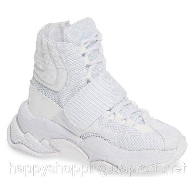 Женские стильные оригинальные белые высокие кроссовки Jeffrey Campbell