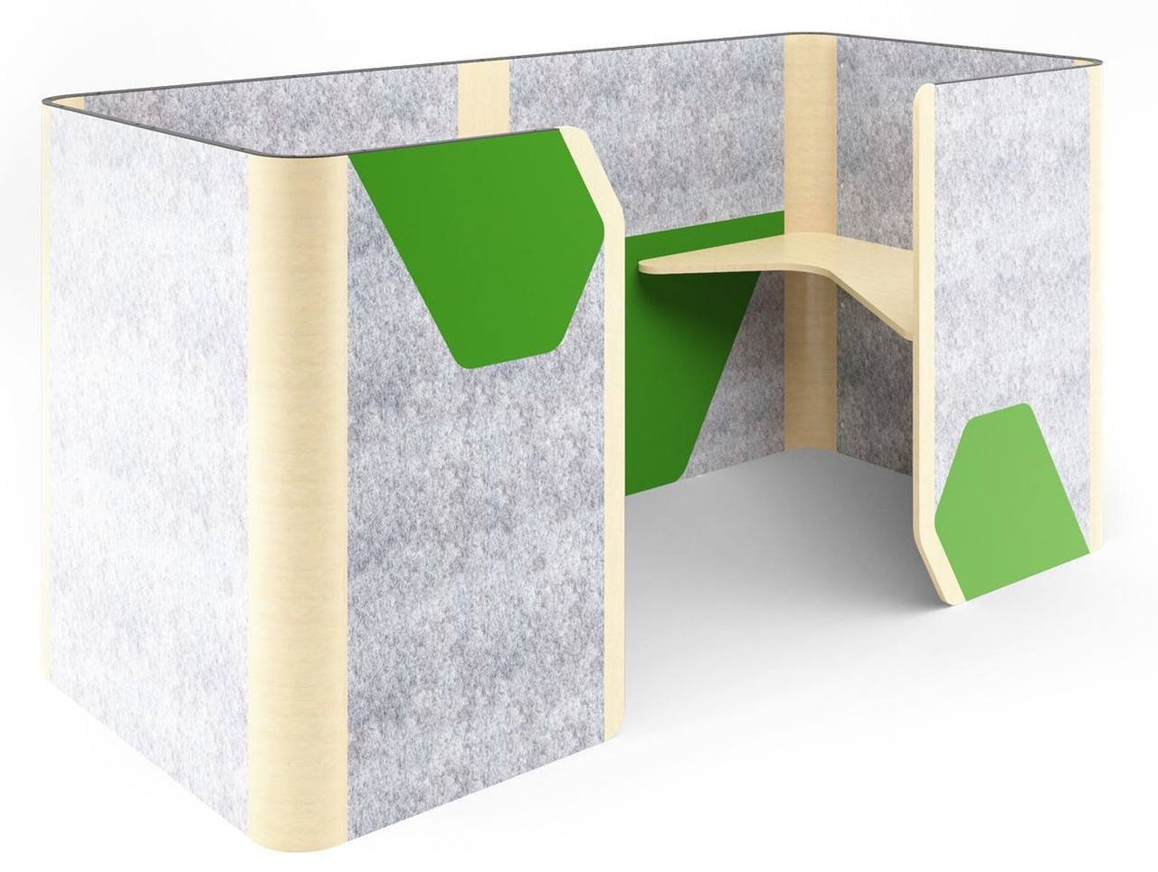 Кабина двойная Cabi фетр серый/фетр зеленый черный графит TM AMF