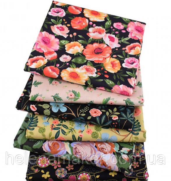 Набор сатина для рукоделия Цветочный (6 отрезов 40*50 см)