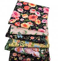 Набор сатина для рукоделия Цветочный (6 отрезов 40*50 см) , фото 1