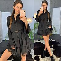 Черное женское платье с ремешком