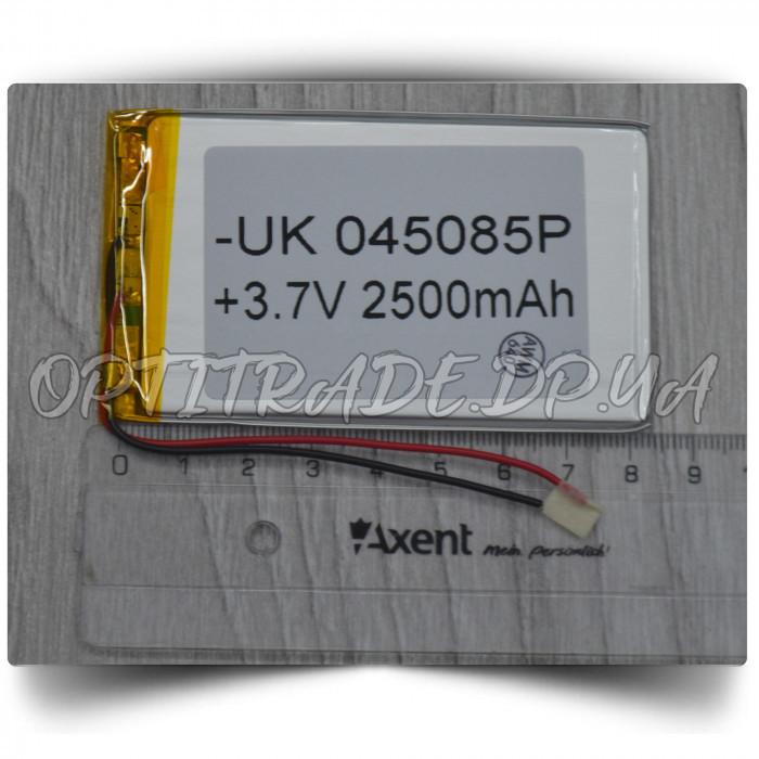 Аккумулятор 045085 (Li-ion 3.7B 2500mA.ч), (85*50*4mm) 2 контакта (провода)