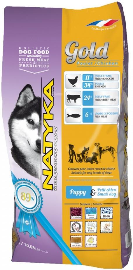 Natyka Gold Puppy & Small Dog Полувлажный корм для щенков и собак мелких пород. 4.5 кг