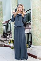 Женское хлопковое платье макси с капюшоном , фото 1