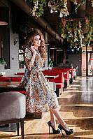 Платье шифоновое леопард мелкопятнистый