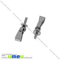 Держатель для кулона со штифтом из нержавеющей стали, 12х3 мм, Темное серебро, 1 шт (STL-032708)