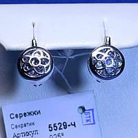 Сережки з чорненого срібла з фіанітами 5529-ч, фото 1