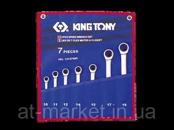 Набір ключів комбінованих з тріскачкою King Tony 7 шт. (10-19 мм) 12107MRN
