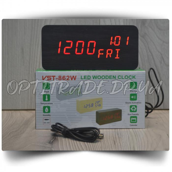 Настольные часы VST-862W-1 с красной подсветкой