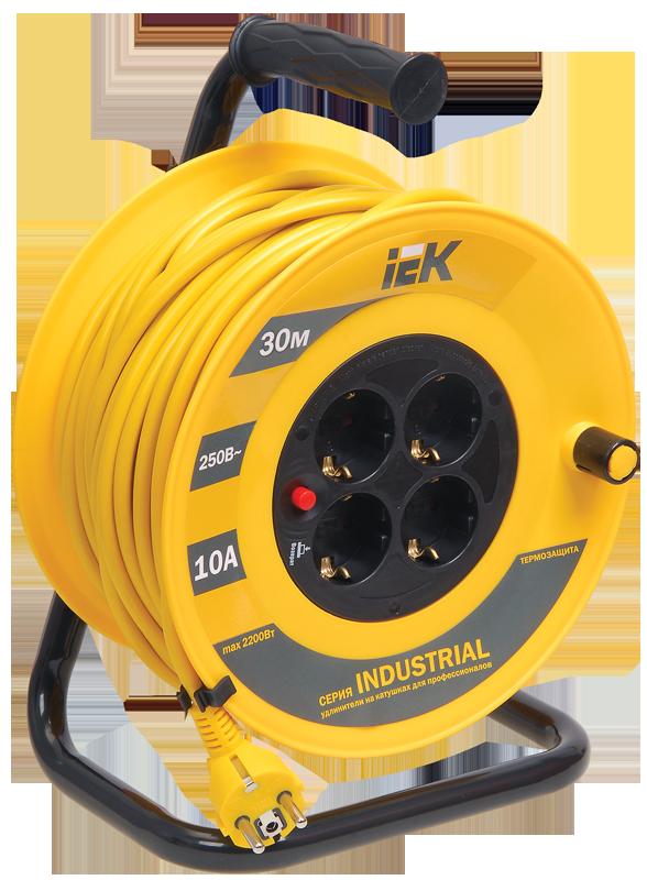 Котушка УК30 з термозахистом 4 місця 2Р+РЕ/30м 3х1,0мм2 Industrial IEK