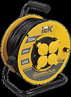Котушка УК50 з термозахистом 4 місця 2Р+РЕ/50м 3х1,5мм2 IP44 Industrial plus IEK