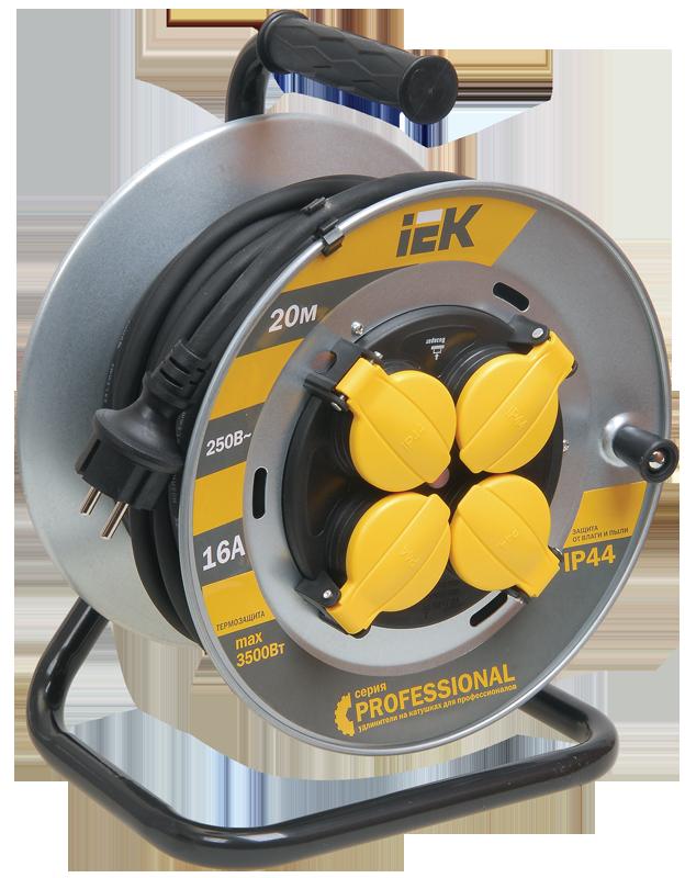 Котушка УК20 на мет. з термозахистом 4 місця 2Р+РЕ/20м КГ 3х1,5мм2 IP44 Professional IEK