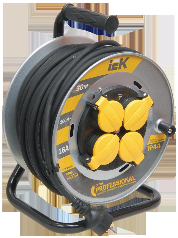 Котушка УК30 на мет. з термозахистом 4 місця 2Р+РЕ/30м КГ 3х1,5мм2 IP44 Professional IEK