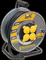 Котушка УК40 на мет. з термозахистом 4 місця 2Р+РЕ/40м КГ 3х1,5мм2 IP44 Professional IEK