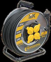 Котушка УК50 на мет. з термозахистом 4 місця 2Р+РЕ/50м КГ 3х2,5мм2 IP44 Professional IEK