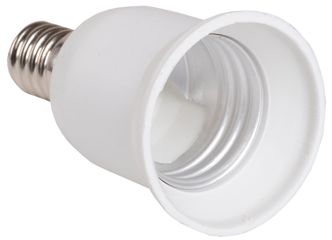Переходник Е14-Е27 ПР14-27-К02 пластик белый (индивидуальный пакет) IEK