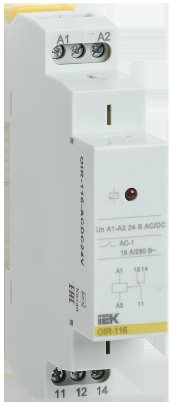 Промежуточное модульное реле OIR 1 конт (16А) 24 В AC/DC IEK