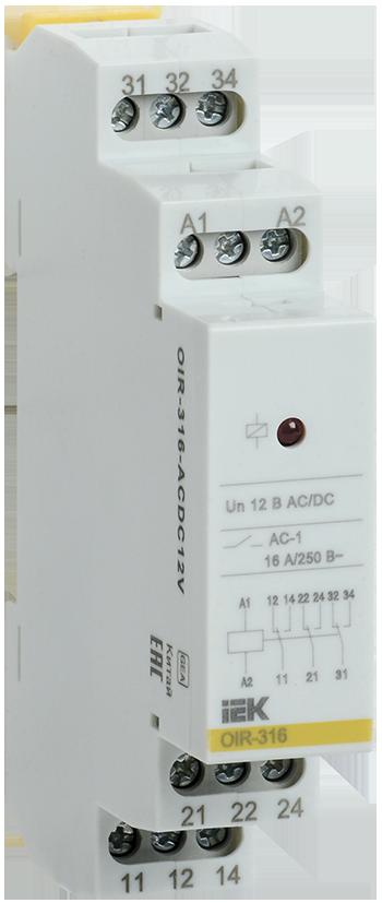 Промежуточное модульное реле OIR 3 конт (16А) 12 В AC/DC IEK