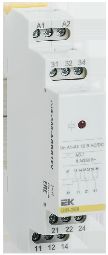 Промежуточное модульное реле OIR 3 конт (8А) 12 В AC/DC IEK