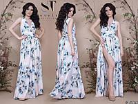 Эффектное легкое платье с завышенной талией и разрезом размеры S-ХL, фото 1